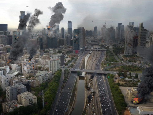 テロで燃える街を上空から見たイメージ画像